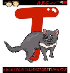 letter t for tasmanian devil cartoon vector image vector image