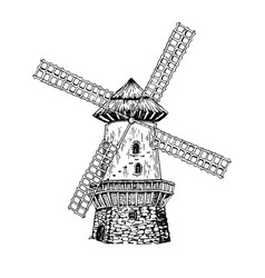 old windmill engraving style vector image vector image