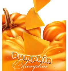 orange background with slices of pumpkin vector image vector image