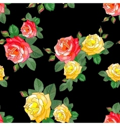 Pattern with Roses on Black Background vector image