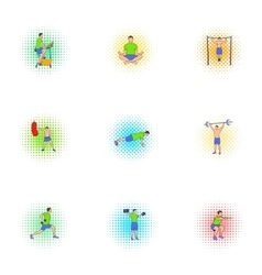 Classes in gym icons set pop-art style vector
