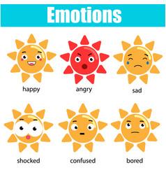Cute kawaii sun character emoji emoticons vector