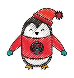 cute scribble christmas penguin cartoon vector image vector image