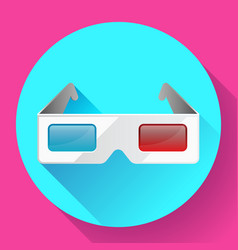 flat anaglyph 3d glasses cinema icon 3d vector image vector image