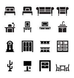 furniture sofa bed wardrobe dining table interior vector image