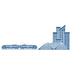 Train in a city vector image