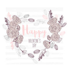 Valentines day hand drawn greeting card heart vector