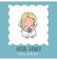 doodle character cute bride Romantic vector image vector image