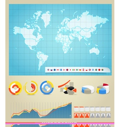 Infographic elements and the world map vector image vector image