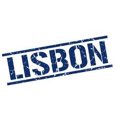 Lisbon blue square stamp vector