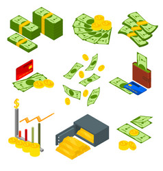 money signs icons set isometric view vector image vector image
