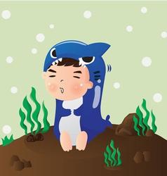 shark boy vector image