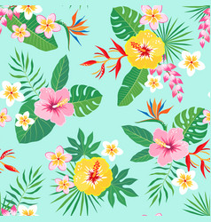 Tropical floral pattern on aquamarine background vector