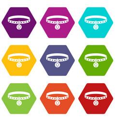 cat collar icon set color hexahedron vector image