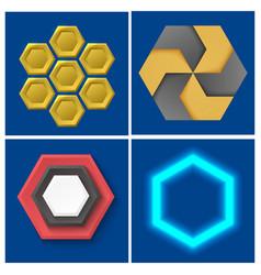 hexagon design geometric elements honeycombs vector image
