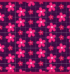 pink flowers on a purple background vector image vector image