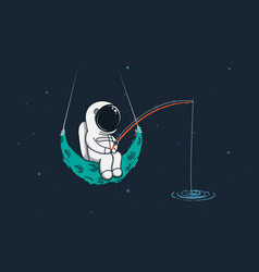 spaceman sits on moon with a fishing rod vector image