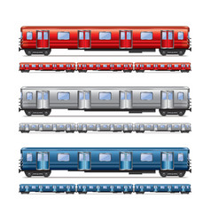 subway train isolated set vector image vector image