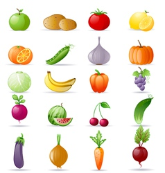 vegetables and fruit icon set vector image