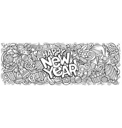 2020 doodles new year objects vector image