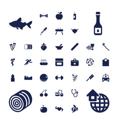 37 healthy icons vector
