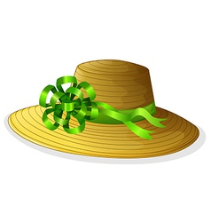 A fashionable hat with a green ribbon vector