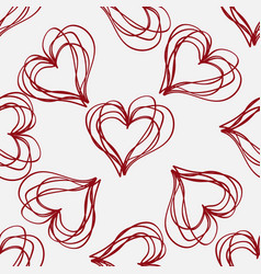 abstract seamless pattern with hatching hearts vector image