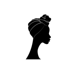 African woman in traditional turban logo design vector