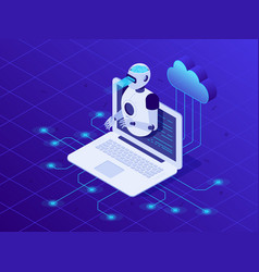 artificial intelligence on laptop screen cloud vector image