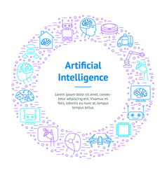 Artificial intelligence thin line banner card vector