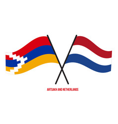 Artsakh and netherlands flags crossed and waving vector