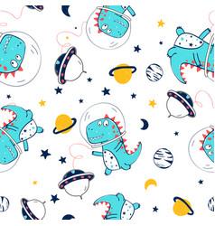 Astronaut dinosaur seamless print design vector