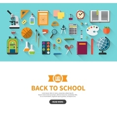 Back to school flat design banner vector