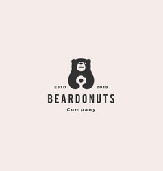 bear donuts logo hipster retro vintage icon vector image