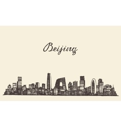 Beijing skyline engraved drawn sketch vector image