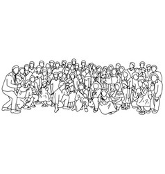 big family taking photo together vector image