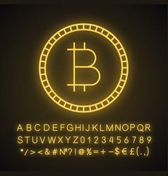 Bitcoin neon light icon vector