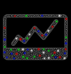 bright mesh network stock market chart with light vector image