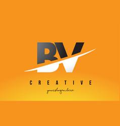 Bv b v letter modern logo design with yellow vector