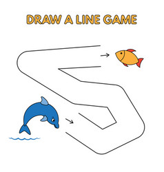 cartoon dolphin draw a line game for kids vector image