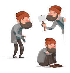 cartoon homeless bum poor male depressed character vector image