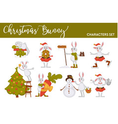 christmas bunny rabbit santa cartoon character vector image