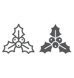 christmas holly berry line and glyph icon xmas vector image