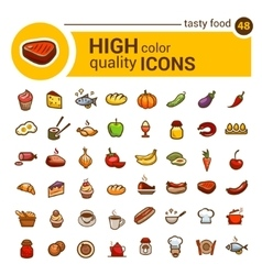 Color big food icons set vector
