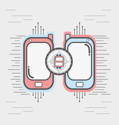 Color smartphone icon circuit bitcoin money vector