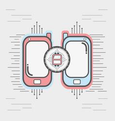 color smartphone icon circuit bitcoin money vector image