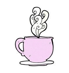 Comic cartoon teacup with sugar cubes vector