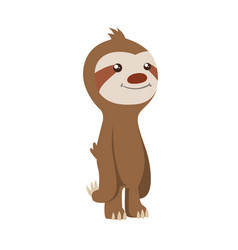 Cute basloth standing funny sloth vector