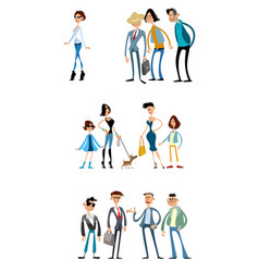 different scenes with funny characters vector image