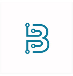 digital letter b technology logo design vector image